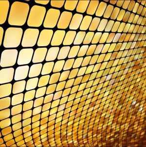 HD-031 Golden Yellow Diamond Square 3D Stretch Ceiling Film for Ceiling Decoration