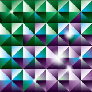 HD-069 Green and Purple Triangle 3D Stretch Ceiling Film for Ceiling Decoration